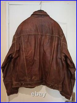AVIREX VINTAGE (80's) BLOUSON COUPE CLASSIC CUIR MARRON TAILLE XL/XXL, MADE USA