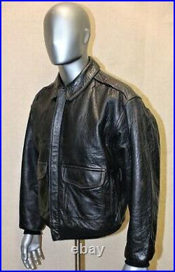Blouson Flight jacket AVIREX A-2 Vintage 80's cuir noir taille L FR made in USA
