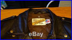 Blouson Perfecto Schott NYC USA homme cuir Brown taille 48