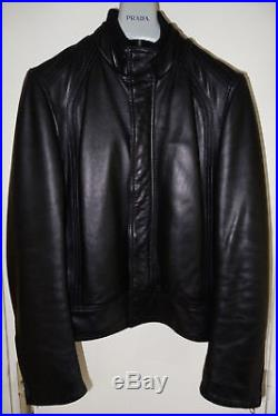 Blouson Veste Jacket DIOR HOMME Noir Black Cuir Leather Size 48 M L Men Zip FW08