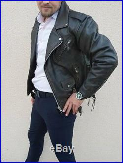 Blouson cuir perfecto homme buffle vintage neuf taille L