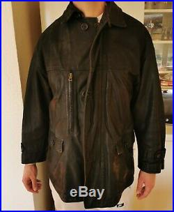Manteau RUFFO Made in Italy Cuir Leather Taille XXL Veste Jacket blouson marron